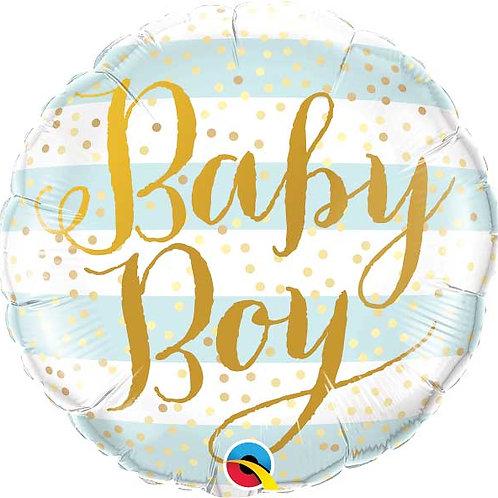 18IN BABY BOY BLUE STRIPES FOIL BALLOON