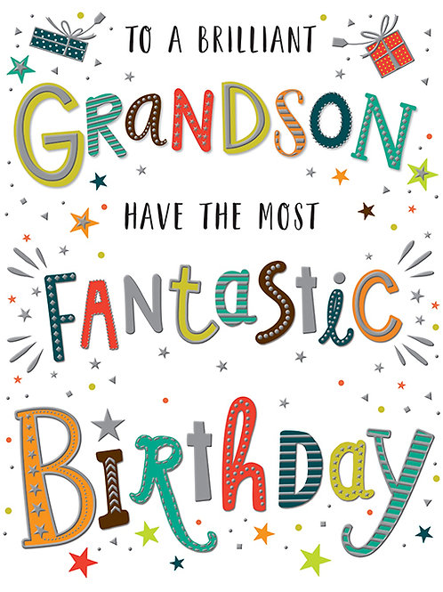 Happy Birthday Grandson Stars & Coloured Letters Card