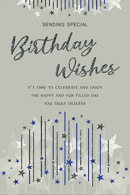 Silver with Stars Birthday Card