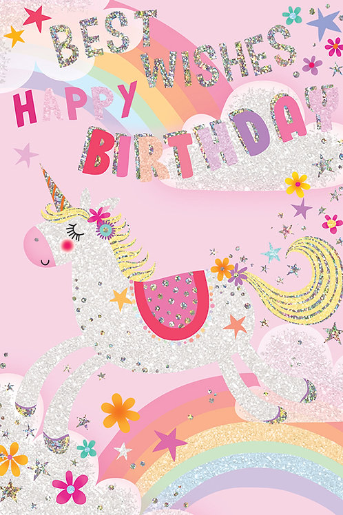 Unicorn and Rainbow Birthday Card