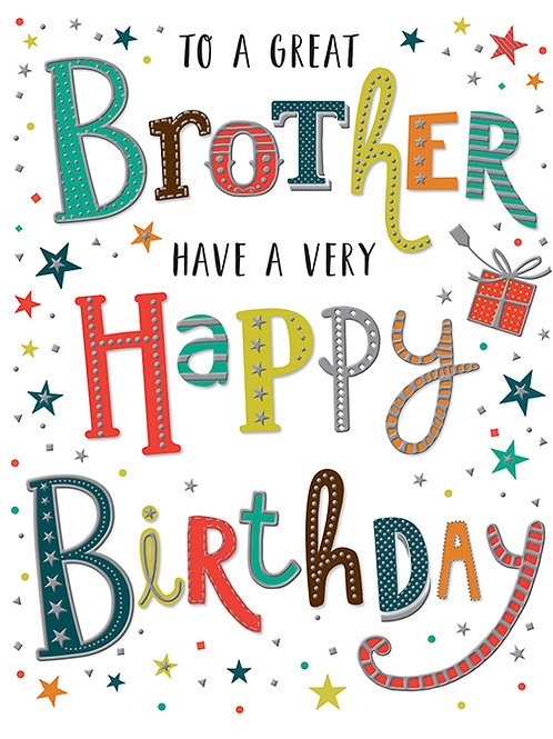 Happy Birthday Brother Stars & Coloured Letters Card