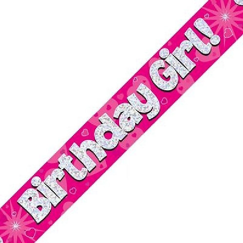BIRTHDAY GIRL PINK HOLOGRAPHIC 9FT FOIL BANNER