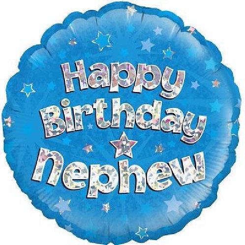 18IN HAPPY BIRTHDAY NEPHEW BLUE FOIL BALLOON