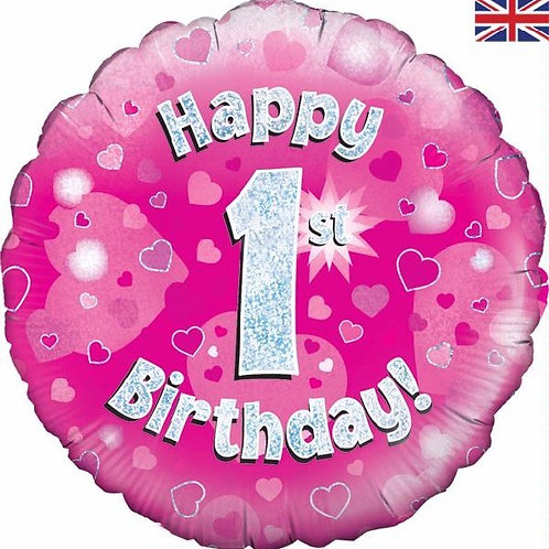 18IN HAPPY 1ST BIRTHDAY PINK FOIL BALLOON