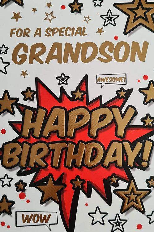 Happy Birthday Grandson Wow Card