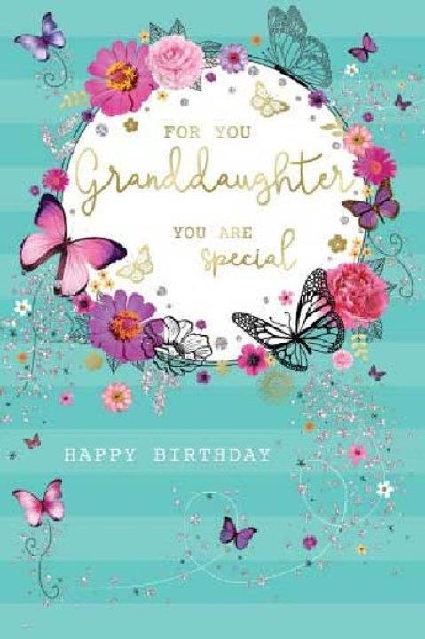 Happy Birthday Granddaughter Butterfly Card