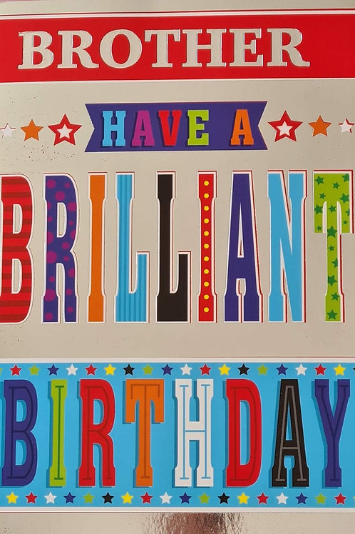 Happy Birthday Brother Silver & Coloured Letters Card
