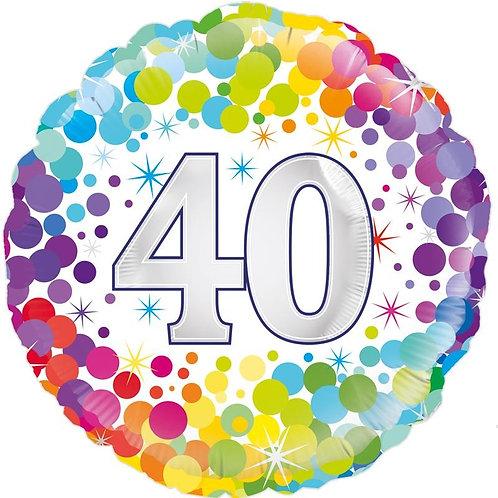18IN COLOURFUL CONFETTI 40TH BIRTHDAY