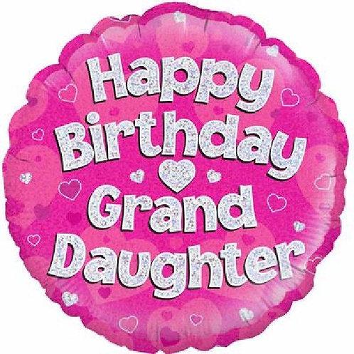 18IN HAPPY BIRTHDAY GRANDDAUGHTER PINK FOIL BALLOON