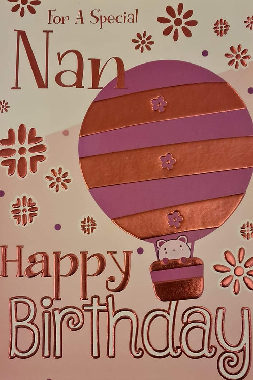 Happy Birthday Nan Balloon Card