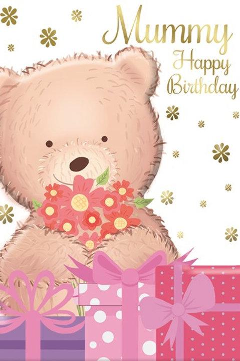 Happy Birthday Mummy Teddy With Flowers Card
