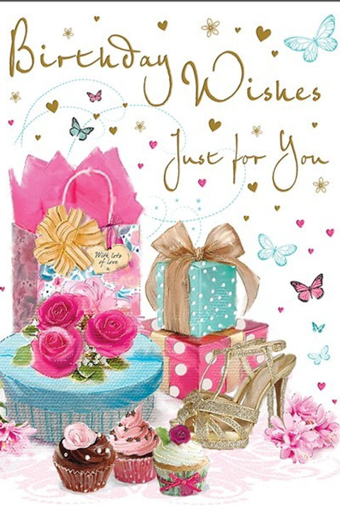 Cake, Gift & Shoes Birthday Card