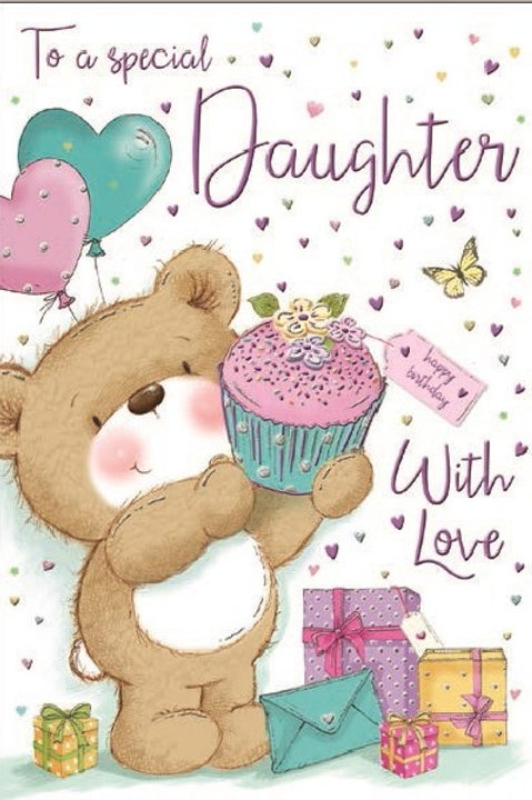Happy Birthday Daughter Teddy Cake Card
