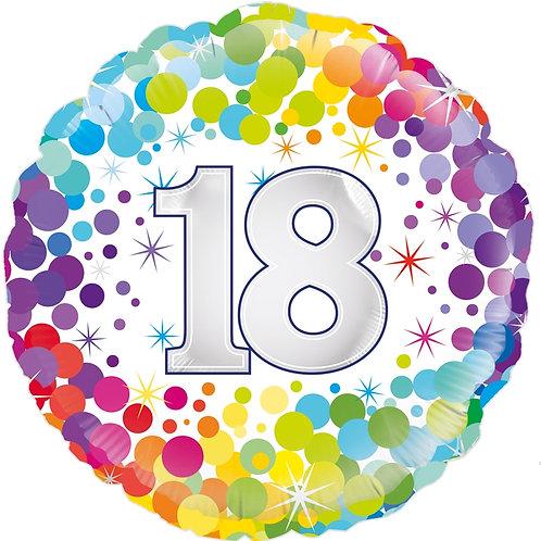 18IN COLOURFUL CONFETTI 18TH BIRTHDAY