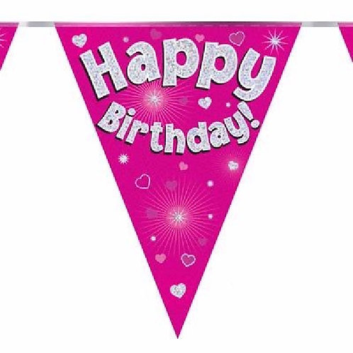 HAPPY BIRTHDAY PINK PENNANT BANNER