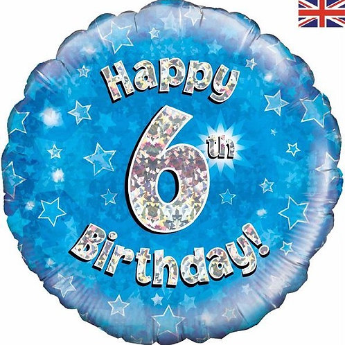 18IN HAPPY 6TH BIRTHDAY BLUE FOIL BALLOON