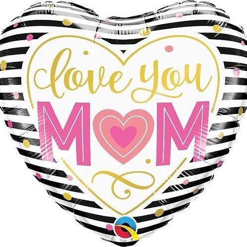 18IN LOVE YOU MOM BLACK & WHITE STRIPES FOIL BALLOON