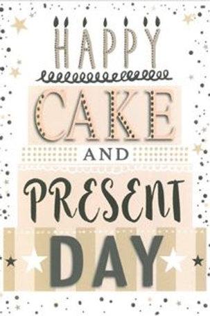 Happy Birthday Cake & Present Day Card