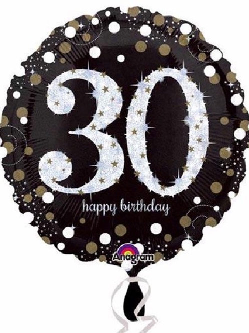 18IN 30TH BIRTHDAY GOLD SPARKLES FOIL BALLOON