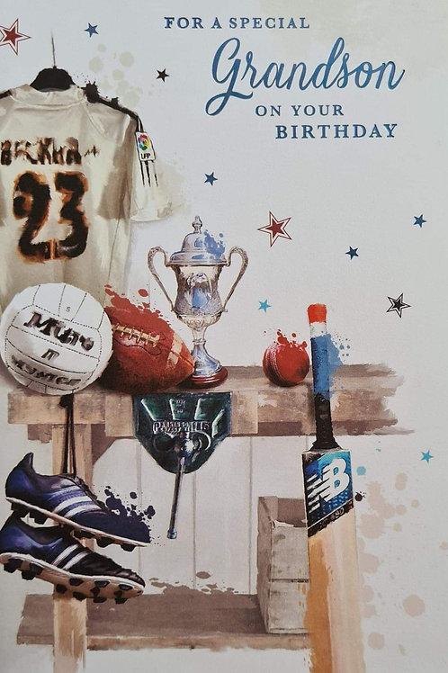 Happy Birthday Grandson Sporty Card