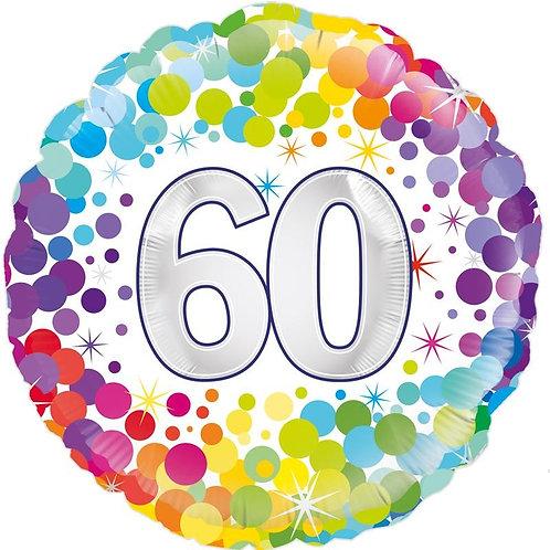 18IN COLOURFUL CONFETTI 60TH BIRTHDAY