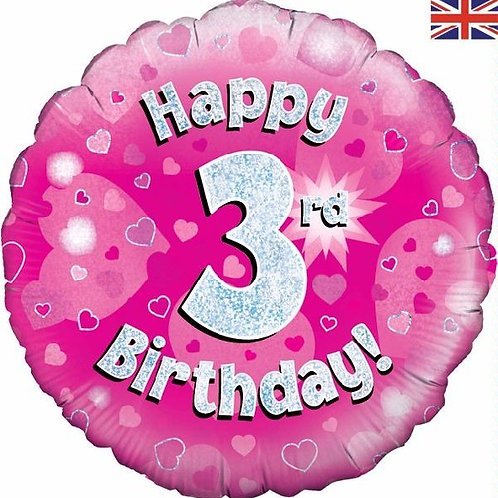 18IN HAPPY 3RD BIRTHDAY PINK FOIL BALLOON