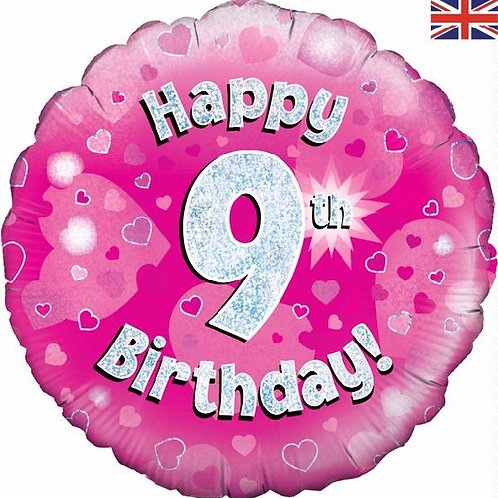 18IN HAPPY 9TH BIRTHDAY PINK FOIL BALLOON