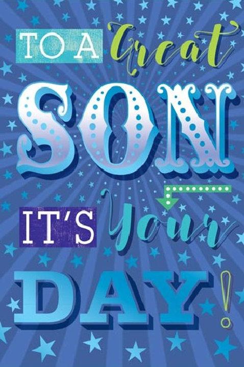 Happy Birthday Son Blue Card