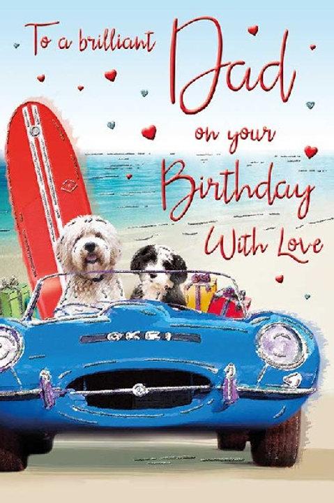 Happy Birthday Dad Beach Car Card