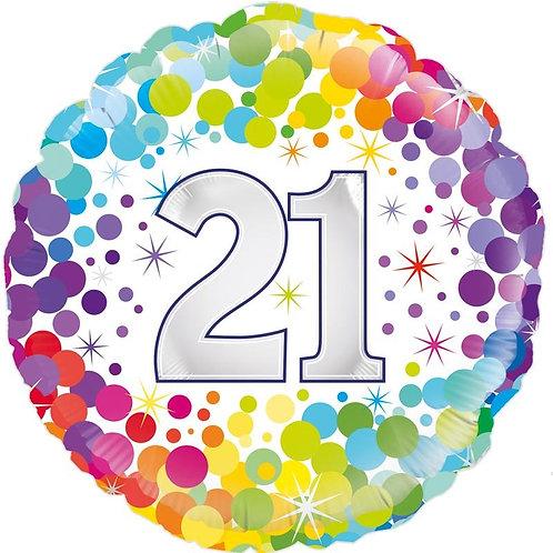 18IN COLOURFUL CONFETTI 21ST BIRTHDAY