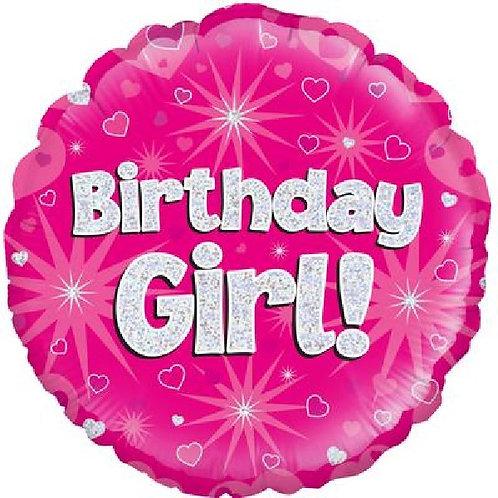 18IN BIRTHDAY GIRL PINK STAR FOIL BALLOON