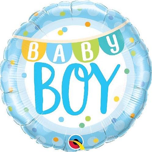18IN BABY BOY BANNER & DOTS FOIL BALLOON