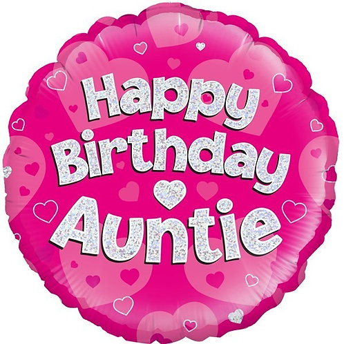 18IN HAPPY BIRTHDAY AUNTIE PINK FOIL BALLOON
