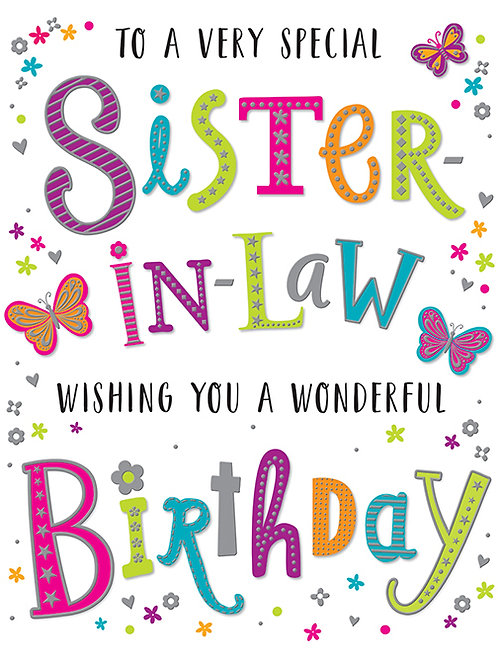 Happy Birthday Sister-in-Law Colourful Letters Card