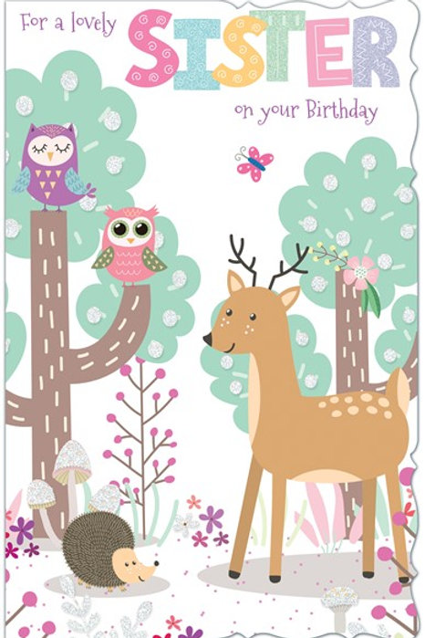 Happy Birthday Sister Animals Card