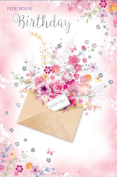 Flowers Just For You Happy Birthday Card