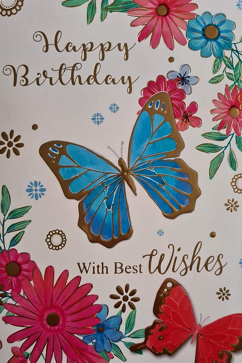 Blue Butterfly Birthday Card