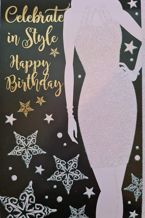Celebrate in Style Black Glittery Birthday Card
