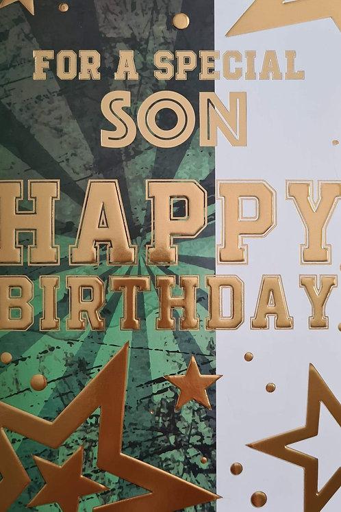 Happy Birthday Son Green & Gold Card