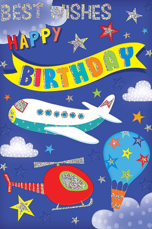 Aeroplane, Helicopter and Balloon Birthday Card