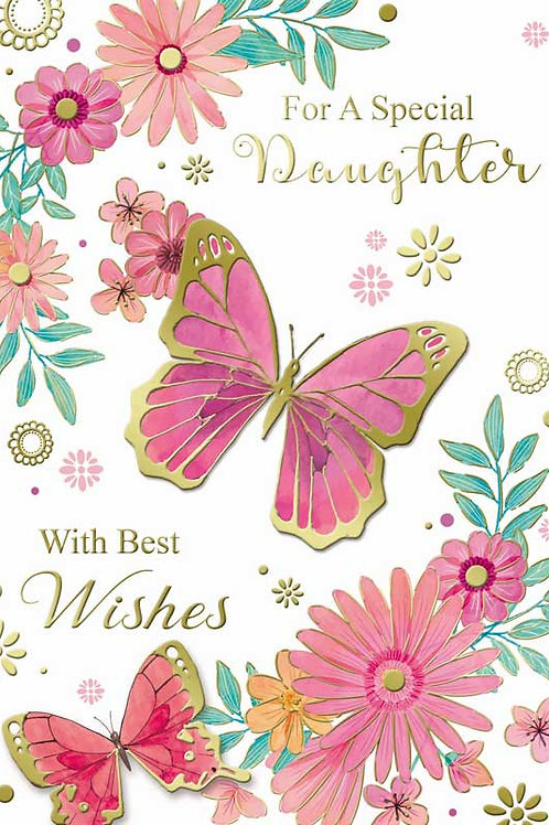 Happy Birthday Daughter Pink Butterfly Card
