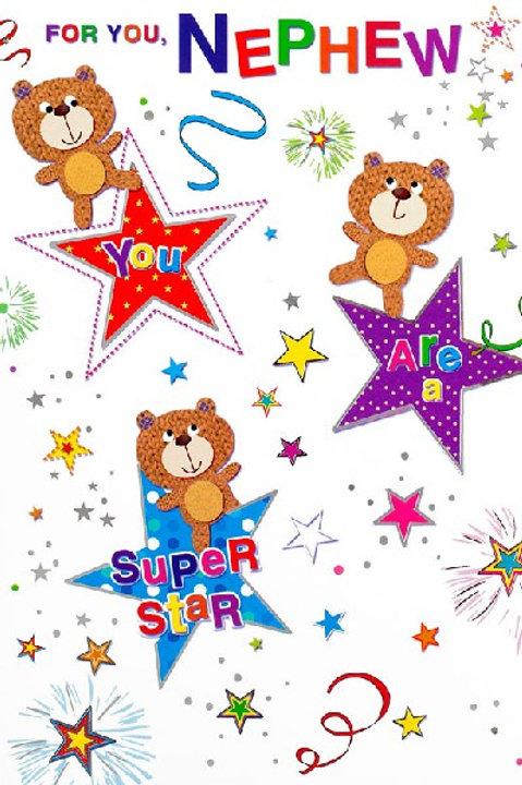 Happy Birthday Nephew Teddy Star Card