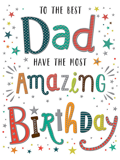 Happy Birthday Dad Colourful Lettering Card