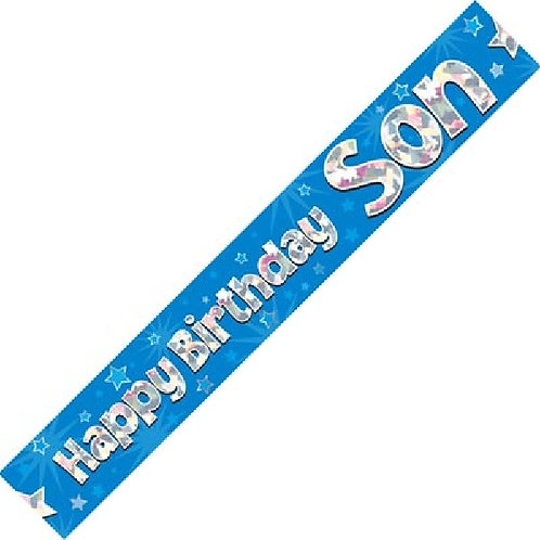 HAPPY BIRTHDAY SON BLUE HOLOGRAPHIC 9FT FOIL BANNER