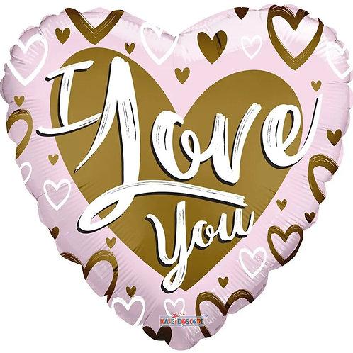 18IN I LOVE YOU MATT GOLD & PINK HEART FOIL BALLOON