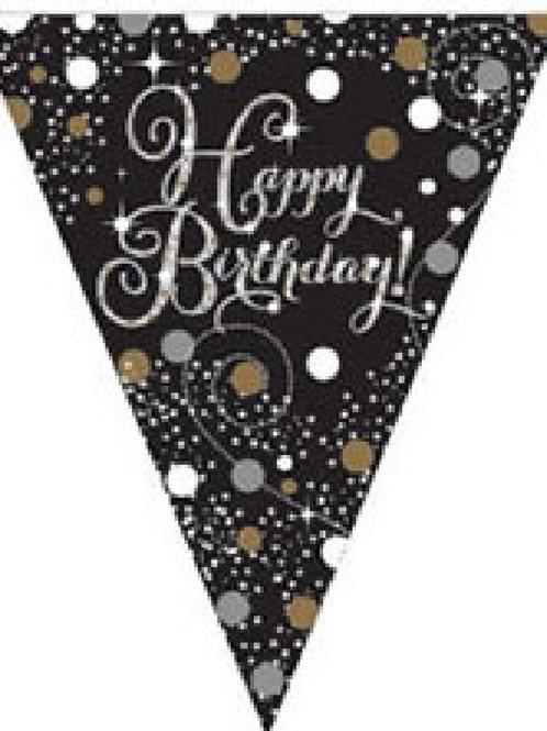 HAPPY BIRTHDAY GOLD SPARKLES BUNTING