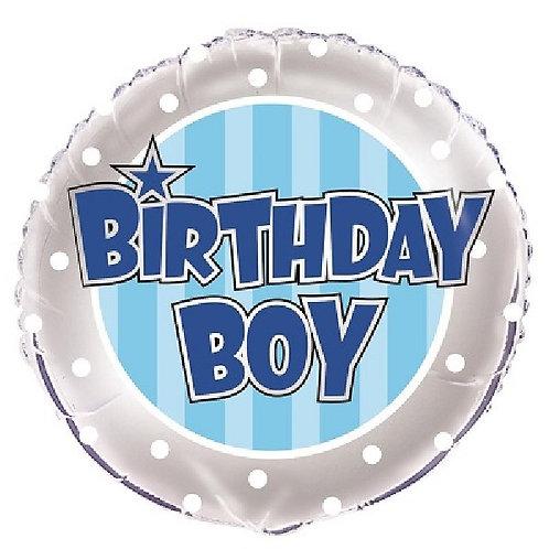 18IN BIRTHDAY BOY BLUE & SILVER FOIL BALLOON