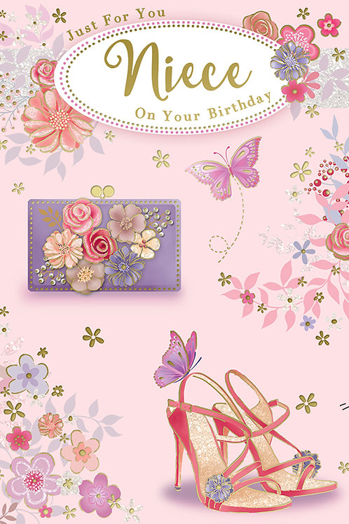 Happy Birthday Niece Shoes & Butterflies Card