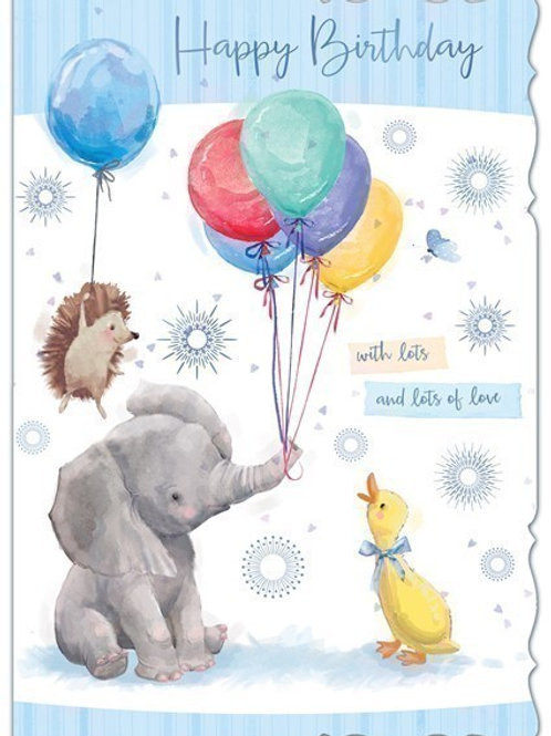 Elephant & Balloons Birthday Card