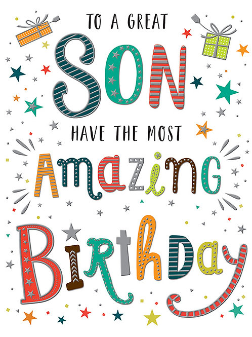 Happy Birthday Son Colourful Lettering Card